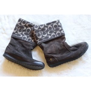 Coach Shoes - Coach | C signature wool & suede winter boots EUC